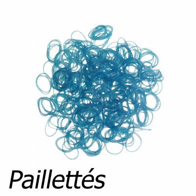 300 élastiques Loom - Bleu pailleté