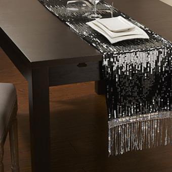 Chemin De Table Moderne Avec Paillettes Argentées Et Gland En Polyester    Achat U0026 Prix | Fnac