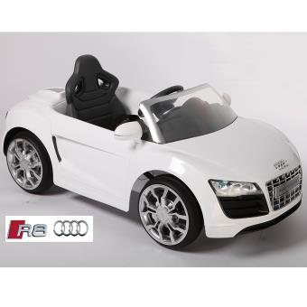 voiture lectrique enfant audi r8 luxe noir t l commande blanc v hicule lectrique pour. Black Bedroom Furniture Sets. Home Design Ideas