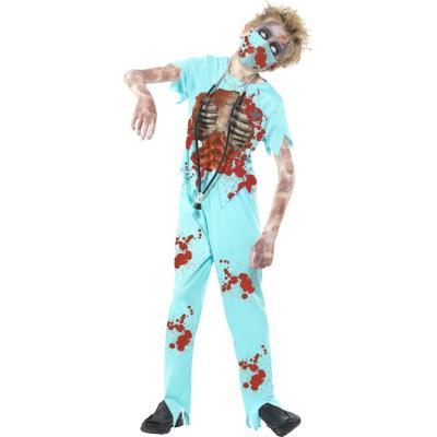 Déguisement docteur zombie enfant halloween 7 à 9 ans inclus masque, stéthoscope, haut, pantalon