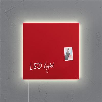 Sigel SI-GL402 Panneau magnétique en verre Artverum LED Light 480x480x15 Rouge