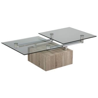 Table Basse Verre Socle Bois Carre L 1300 X L 650 X Ht 400 Mm