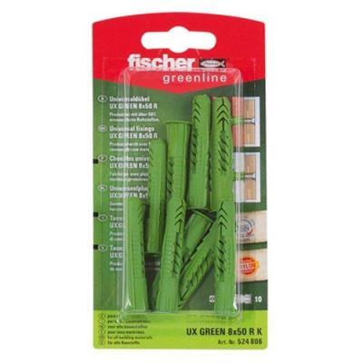 Fischer 524806 Greenline Lot de 10 Chevilles universelle UX 8 x 50 mm R K