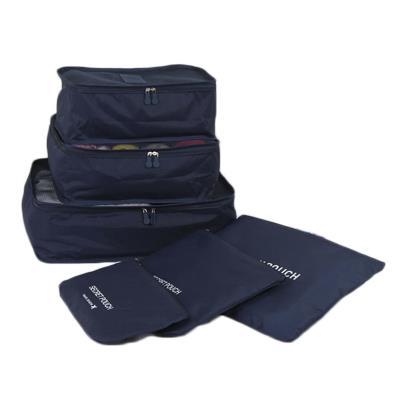 Lot de 6 sacs de voyage , couleur unie ( Bleu foncé )