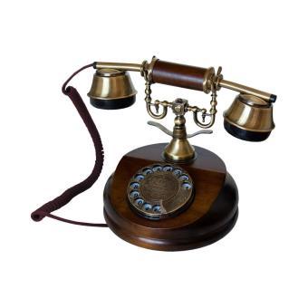 mod le a t l phone r tro en bois et metal avec cadran rotatif et cloche en m tal classique. Black Bedroom Furniture Sets. Home Design Ideas