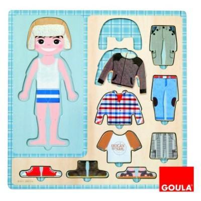 Goula - Puzzle 10 pièces en bois - Petit garçon s'habille