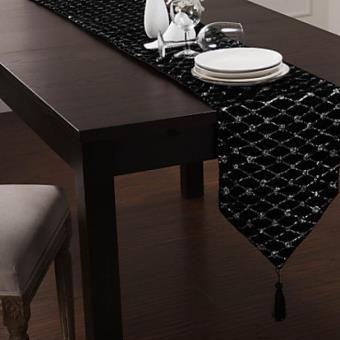 Chemin De Table Moderne A Motif Argent Et Gland En Polyester Noir