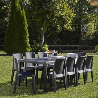 Wilsa Ensemble table et chaises de jardin imitation rotin QUEEN/LADY ...