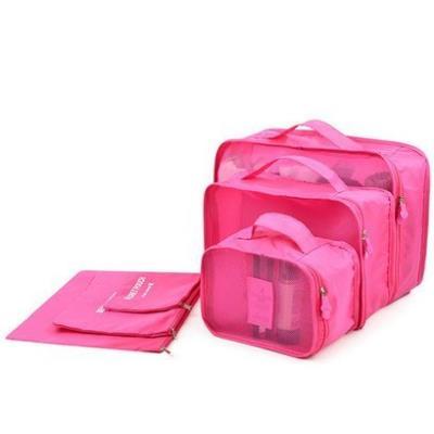 Lot de 6 sacs de voyage , couleur unie ( Rose Bonbon )