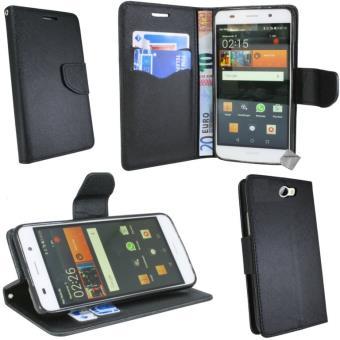Housse etui coque pochette portefeuille pour Huawei Y5 II (Y5 2) - NOIR / NOIR