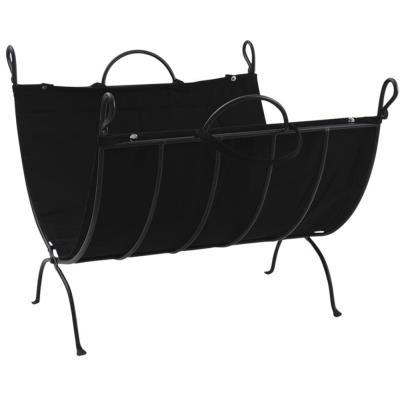 Porte-bûches en fer forgé et coton épais, 62 x 52 x 39 cm -PEGANE-