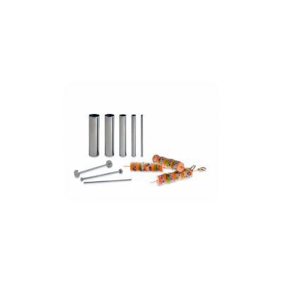 Food designer kit 5 tubes découpoirs ronds + 3 poussoirs inox, Tellier