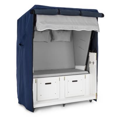 Blumfeldt Set Abri plage cabine chaise longue 2 places housse/roulettes - gris