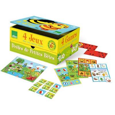 Vilac - Coffret 4 jeux - Drôles de petites bêtes : Mémo, loto, dominos, puzzles