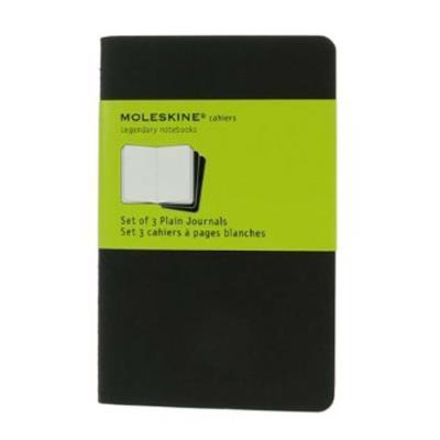 Lot de 5 Sets de 3 cahiers carton 9x14 cm 64 pages unies blanches. Coloris noir