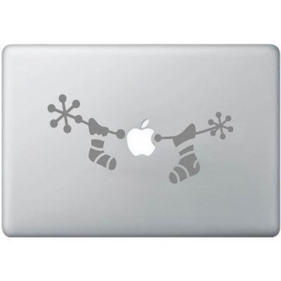 Pick and Stick Sticker Mural Hanging chaussettes pour cadeaux de Noël für iPad / MacBook - 10,5 x 21,5 cm, Noir