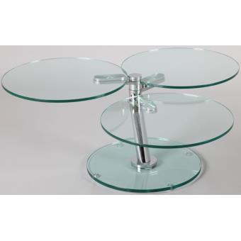 Table Basse Verre Ronde Articulee L750 A 1180 X P550 X H430 Mm Pegane