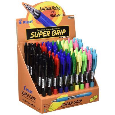 Présentoir avec stylos à bille Super Grip 60St - Bleu, Rouge, Vert, Noir de Pilot Pen