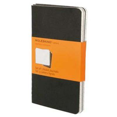 Lot de 5 Sets de 3 cahiers carton 9x14 cm 64 pages lignées. Coloris noir