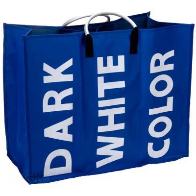 panier à linge sale triple - 3 compartiments - bleu - achat & prix