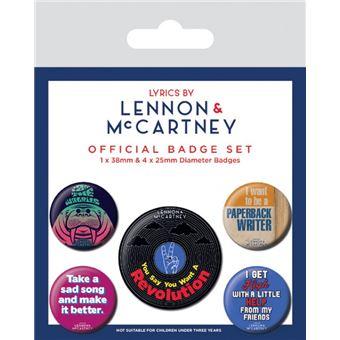 15 x 10 cm 1 X 38mm /& 4 X 25mm Badges Let It Be The Beatles Paquet De Badges