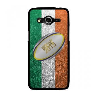 Coque rigide noire pour Galaxy Core 4G avec impression Motif ballon de rugby et drapeau de l'Irlande