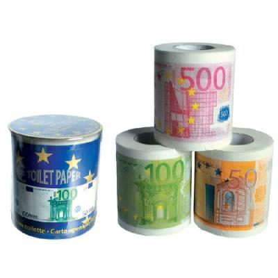 Out of the blue - 3 Rouleaux de papier toilette billets euros dans boîte PVC - 3 assortis