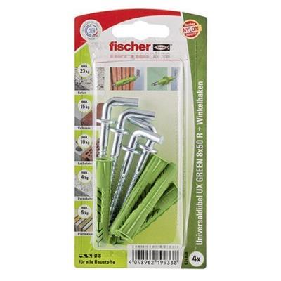Fischer 524808 Greenline Lot de 4 Chevilles universelle UX 8 x 50 mm R WH K