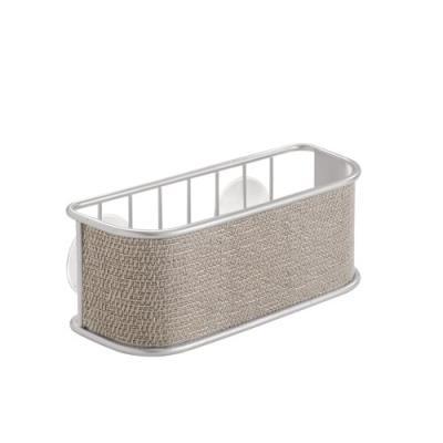 Interdesign 70912eu twillo panier à ventouse pour éponge/grattoir/savon métal metallico/argent 6,6 x 16 x 6,35 cm
