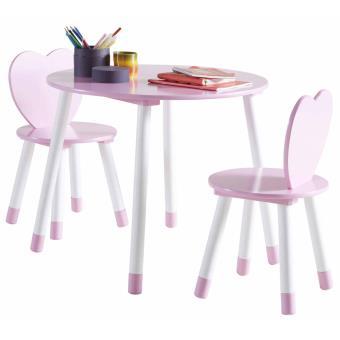 Set De Table 2 Chaises Enfant Princess En Bois Blanc Et Rose L60