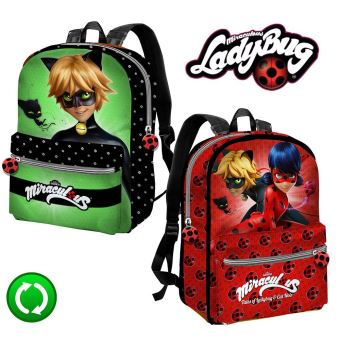 plus de photos 4987e 89160 LadyBug Miraculous Sac à dos reversible 35x28