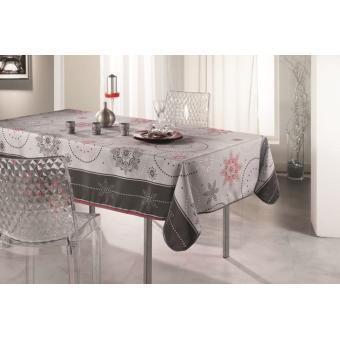 Nappe Anti Tache Rectangle 150x240 Cm Table De Fêtes Astrée Gris