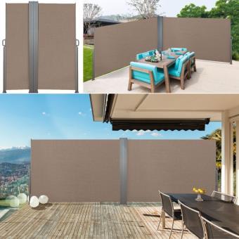 Ultra Paravent double rétractable 600 x 160 cm store taupe latéral ZP-84