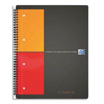 Lot de 5 Cahiers ACTIVEBOOK spirales, 160 pages perforées 80g, Quadrillé 5x5, Format 21 x 31,8 cm, Couverture polypro gris