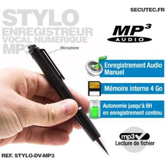 stylo enregistreur audio num rique mp3 16go quipements lectriques domotique achat prix. Black Bedroom Furniture Sets. Home Design Ideas