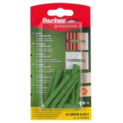 Fischer 524821 Greenline Lot de 10 Chevilles SX 6 x 50 mm K 10