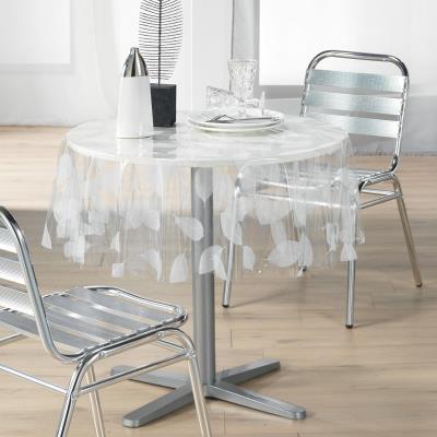 Decorline 1710323 nappe cristal imprimé feuille blanc 140 cm
