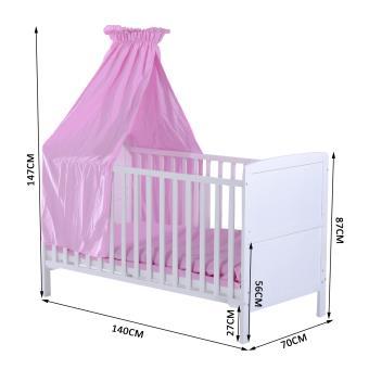 lit bb hauteur rglable barreaux amovibles multi accessoires fournis blanc et rose homcom lit pour enfant achat prix fnac - Dimension Lit Bebe