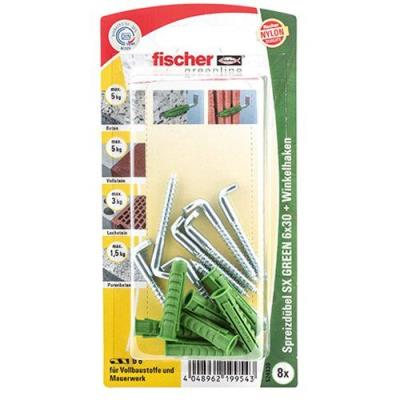 Fischer 524830 Greenline Lot de 8 Chevilles SX 6 x 30 mm WH K