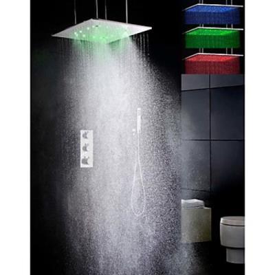 Robinet de douche thermostatique super grand à LED 3 couleurs