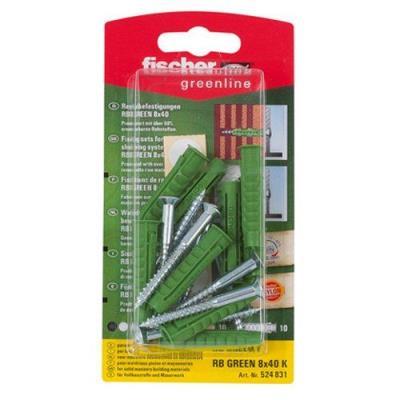 Fischer 524831 Greenline Lot de 10 Fixations pour étagères RB 8 x 40 mm K