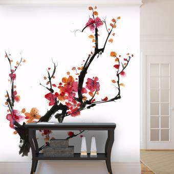 Papier Peint Japonais Cerisier En Fleur E Papier Peint Com Rouge