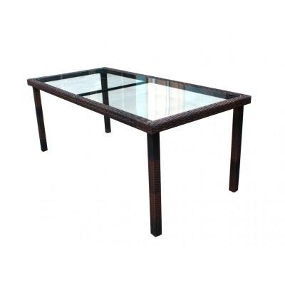 table en résine tressée et plateau verre 192 cm