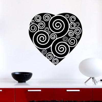 Pick and Stick Sticker Mural Coeur avec des remous - 40 x 40 cm, Noir
