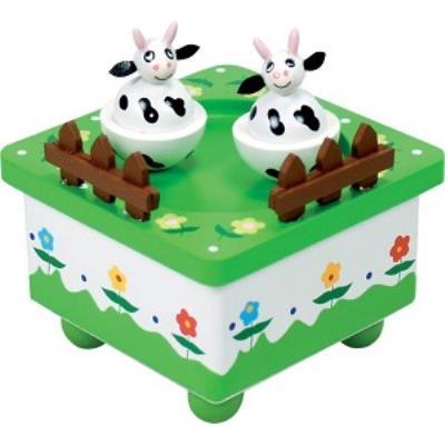 Boite à musique avec 2 vaches qui dansent en musique et deux petites barrières