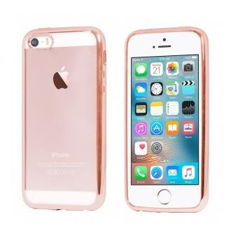 Coque souple Moxie pour iPhone SE et 5s contour rose et dos transparent