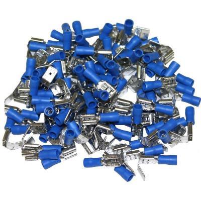 Cosses Electriques Doubles Bleues 6.3 - Sachet De 50 Cosses