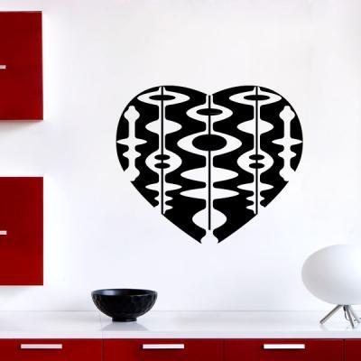 Pick and Stick Sticker Mural Les éléments décoratifs en forme de cœur - 40 x 35 cm, Noir