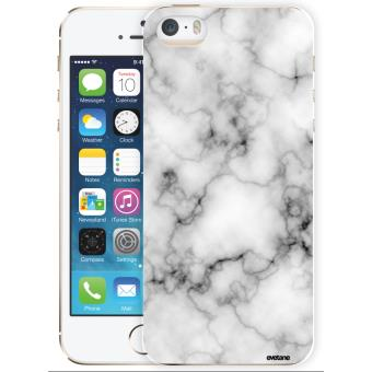 Coque pour iPhone 5 5S SE rigide transparente Marbre blanc Ecriture Tendance et Design Evetane