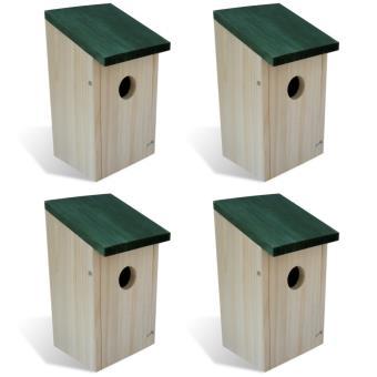 Vidaxl Set De 4 Pcs Maison Nichoir D Oiseau Boite En Bois
